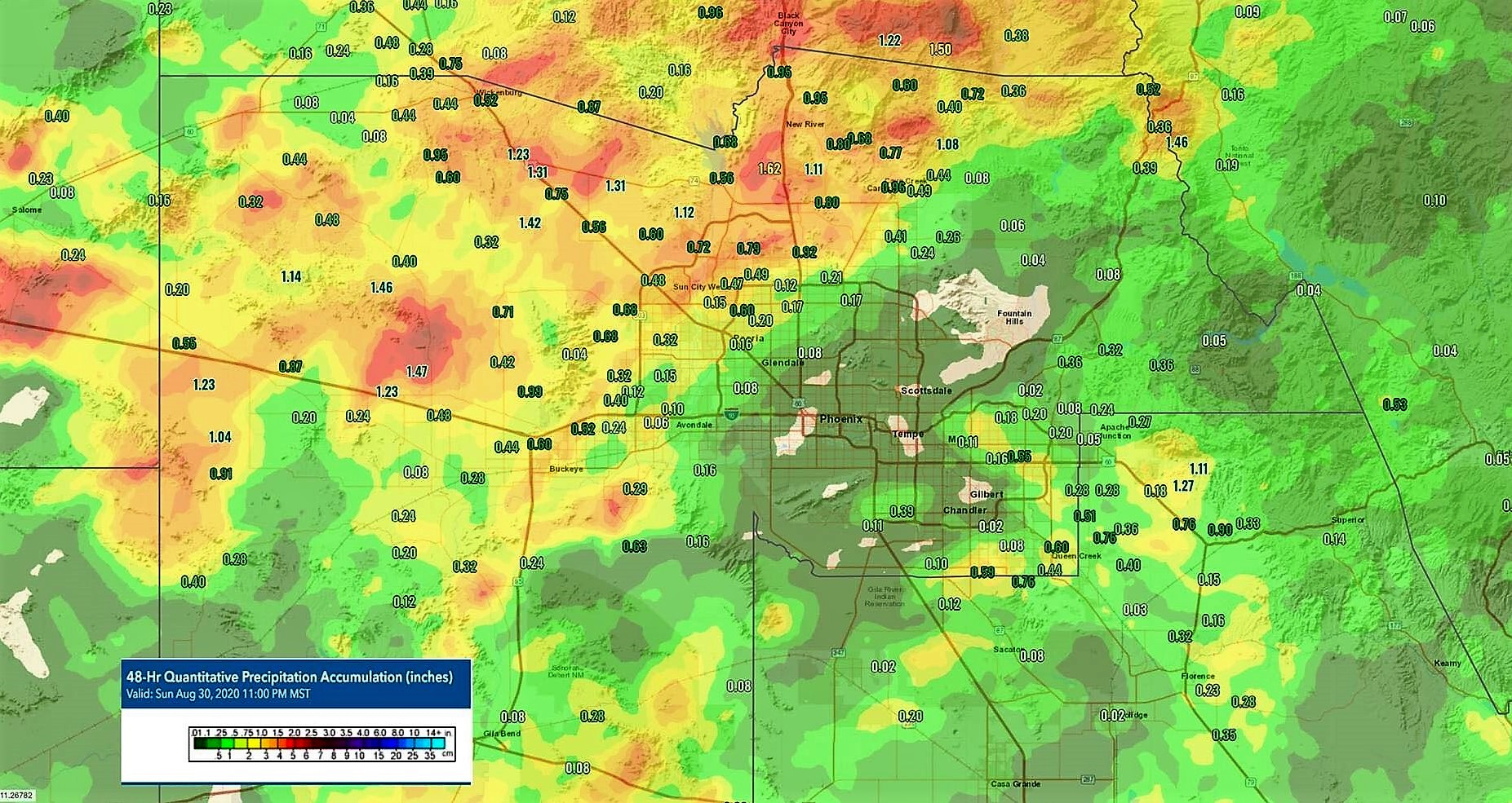 2day Rainfall Aug 29=30th,2020
