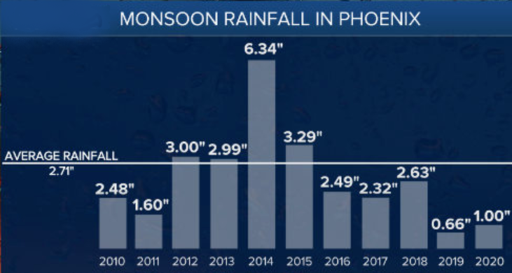 Phoenix 10 year Monsoon Rainfall
