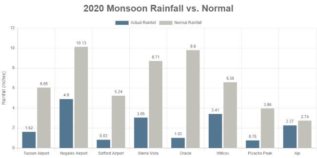 Southern Arizona rainfall Monsoon 2020