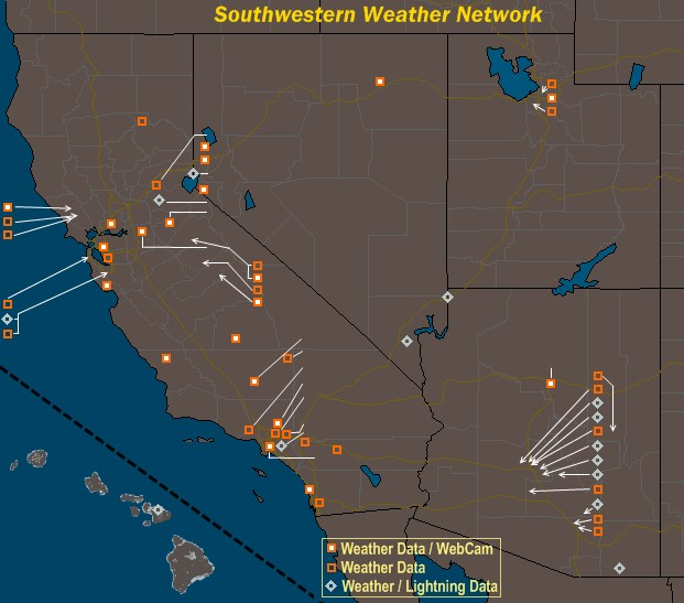 Mesomap of Southwestern Weather Network Stations